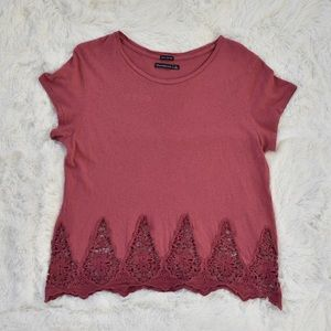Abercrombie and Fitch Scalloped Lace Hem Top